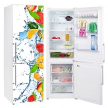 Vinyls refrigerators fruits splash water