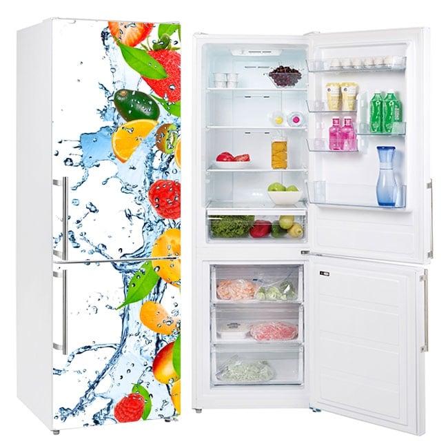Vinyls refrigerators fruits splash water