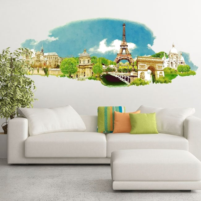 Vinyl and stickers watercolor illustration of paris