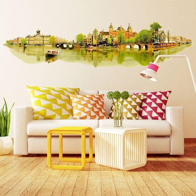 Vinyl walls watercolor illustration amsterdam