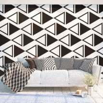 Wall murals of adhesive vinyl triangles