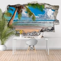 Vinyl walls palm tree beach 3d