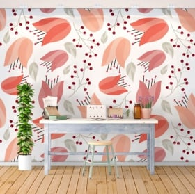 Wall murals of vinyl flowers nature