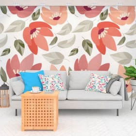 Vinyl wall murals with nature flowers