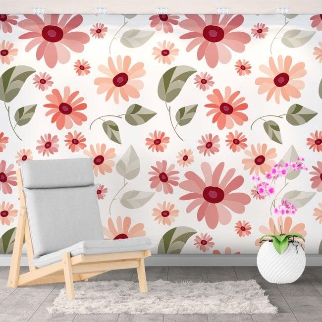 Decorative vinyl murals with flowers