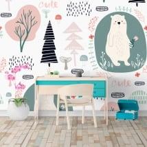 Vinyl wall murals trees flowers and bears