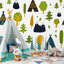 Vinyl wall murals trees and tipi tents