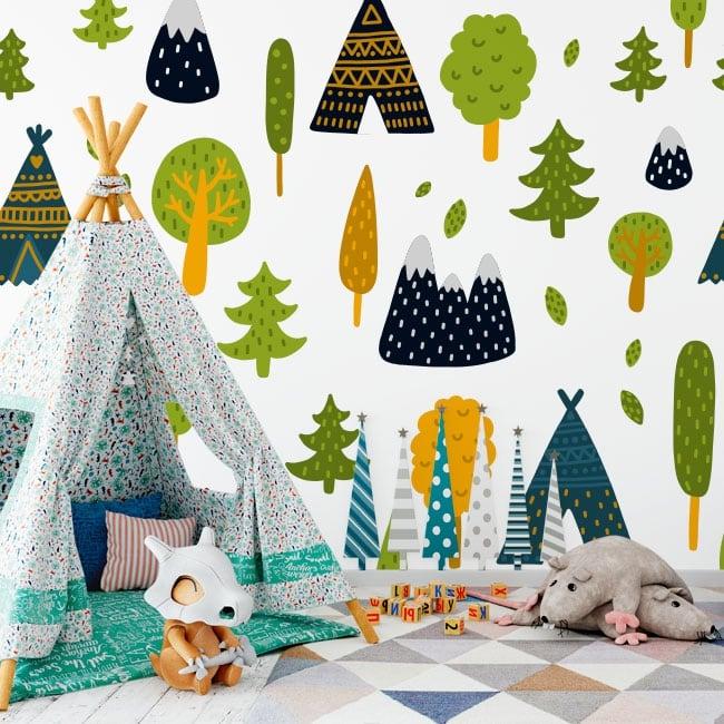 Vinyl wall murals trees and tipi tents