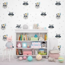 Wall murals children or youth bears and raccoons