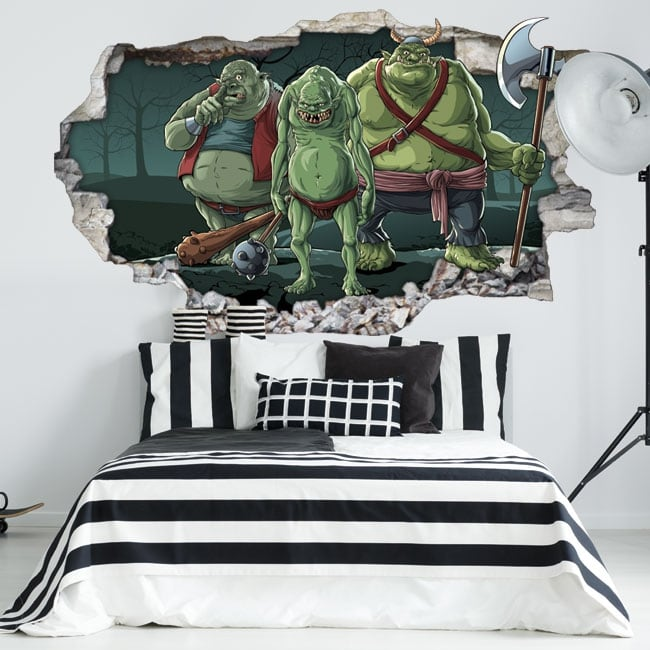 Wall decal youth trolls 3d
