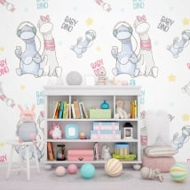 Wall murals for children baby dinosaurs
