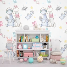 Wall murals children and youth dinosaurs