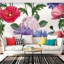 Photo murals with flowers for walls and objects
