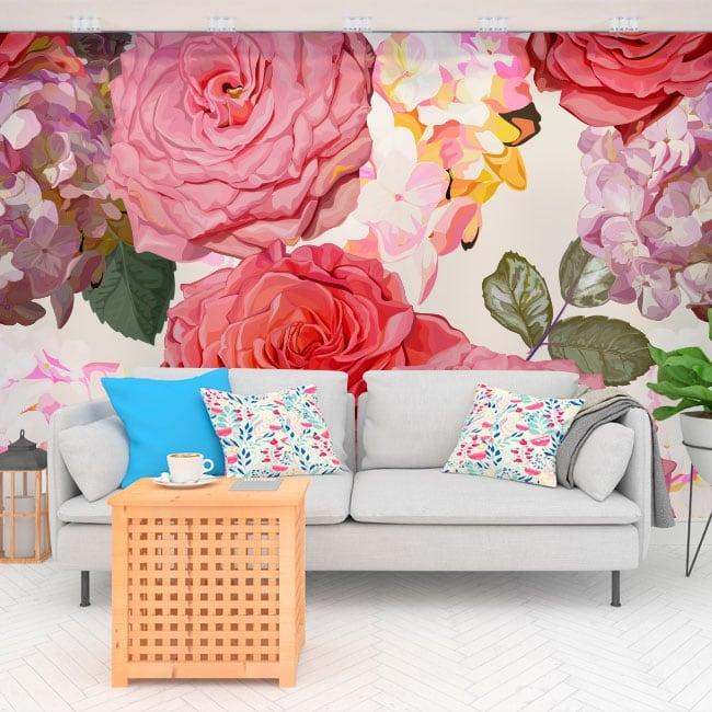 Wall murals of vinyl with hydrangea flowers