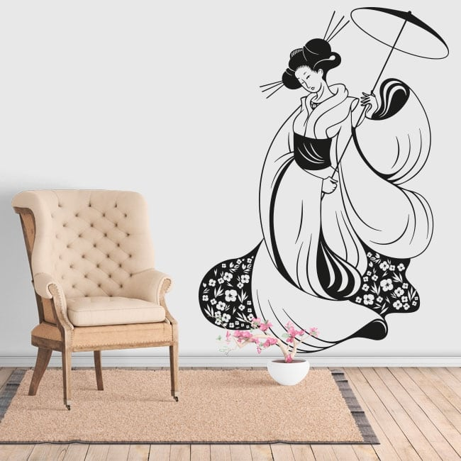 Decorative vinyl silhouette woman japan