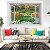 Decorative vinyl window flowers in the garden 3d