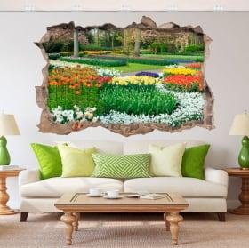 Vinyl 3d garden with flowers