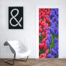 Vinyl for doors hyacinth flowers