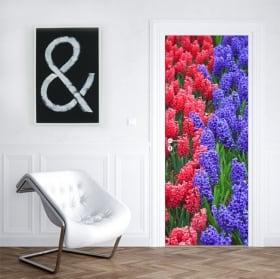 Vinyl for doors hyacinth flowers