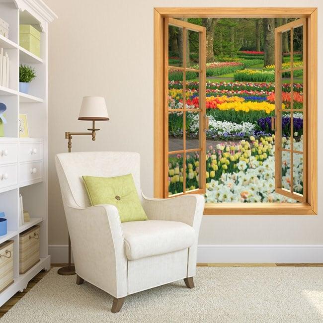 Vinyl windows flowers and tulips garden 3d