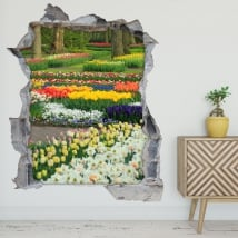 Vinyl and stickers garden flowers and tulips 3d