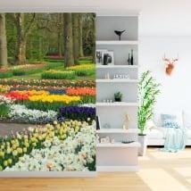 Vinyl wall murals garden with flowers and tulips