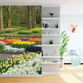 Vinyl wall murals garden with flowers