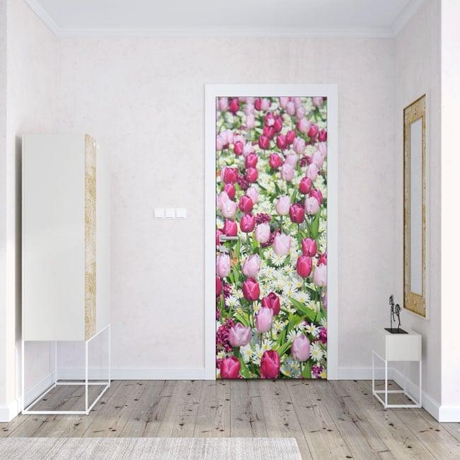 Vinyl for doors tulips flowers
