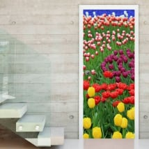 Vinyl doors colorful tulips flowers