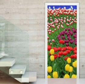 Vinyl doors colorful tulips flowers