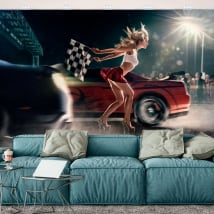 Vinyl wall murals car race