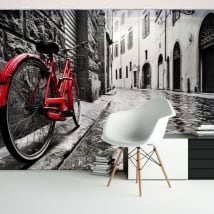 Vinyl wall murals city and retro bicycle