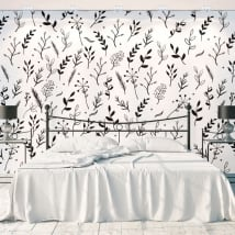 Wall murals flowers and leaves nature