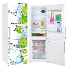 Vinyl refrigerators lemons splash water