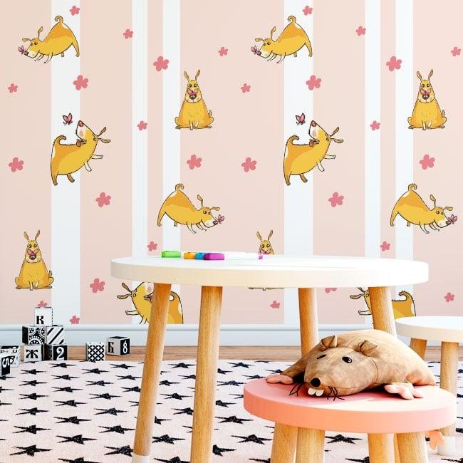 Vinyl wall murals dogs flowers and butterflies