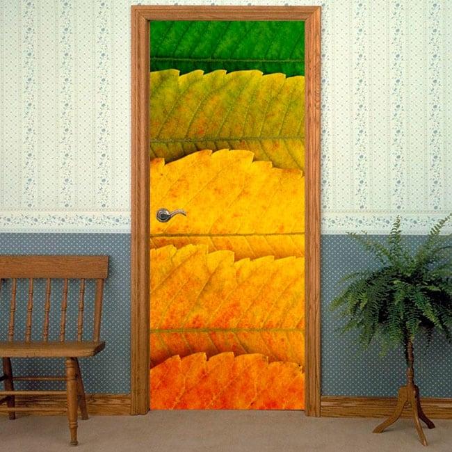 Stickers for doors seasons leaves trees