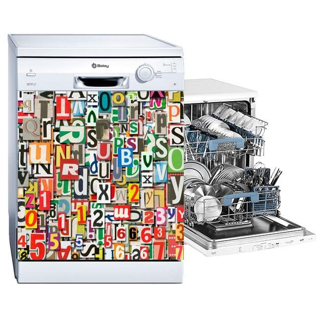 Vinyl dishwasher collage of letters