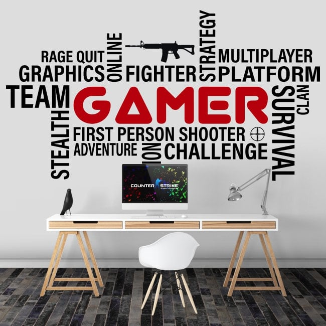 Vinyl and stickers typographical gamer