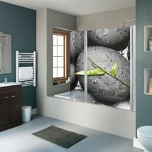 Decorative vinyl bathroom screens zen stones