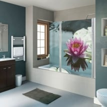 Decorative vinyl bathroom screens lotus flower