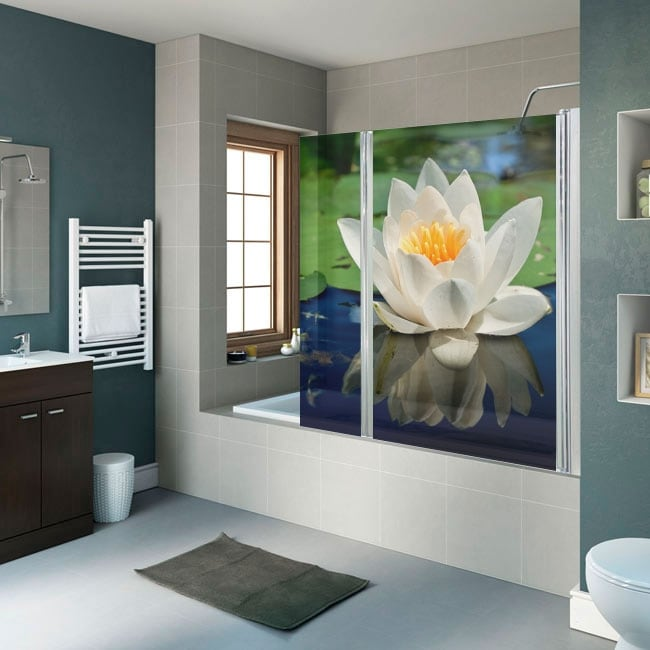 Vinyl and stickers bathroom screens lotus flower