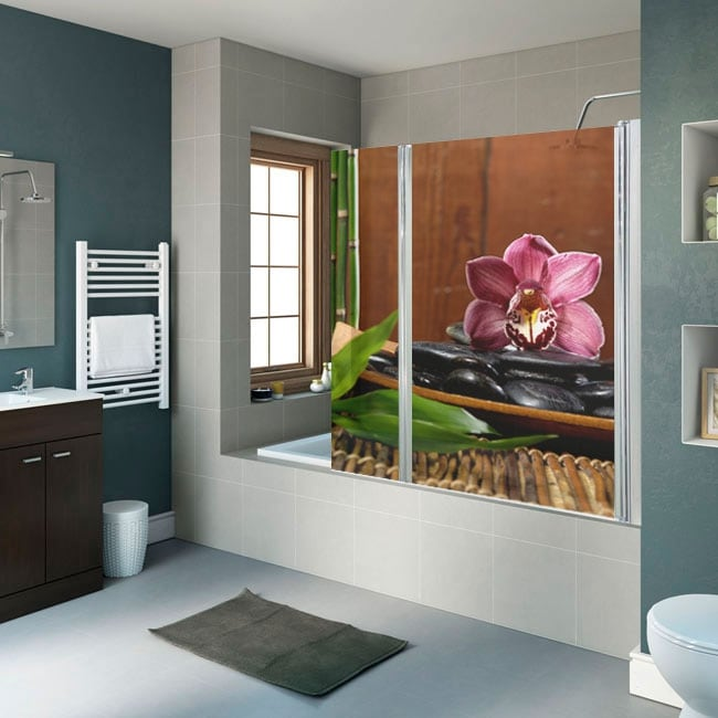 Vinyls for bathroom screens zen decoration