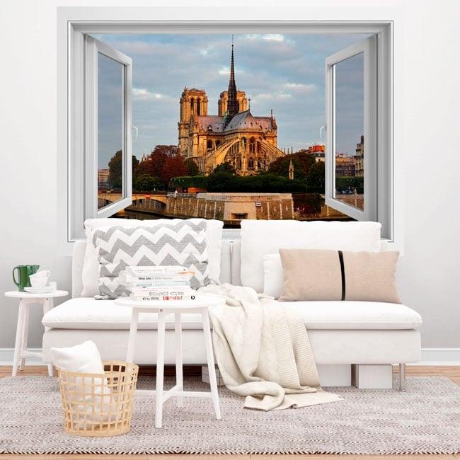 Vinyl 3d window cathedral of notre dame paris france