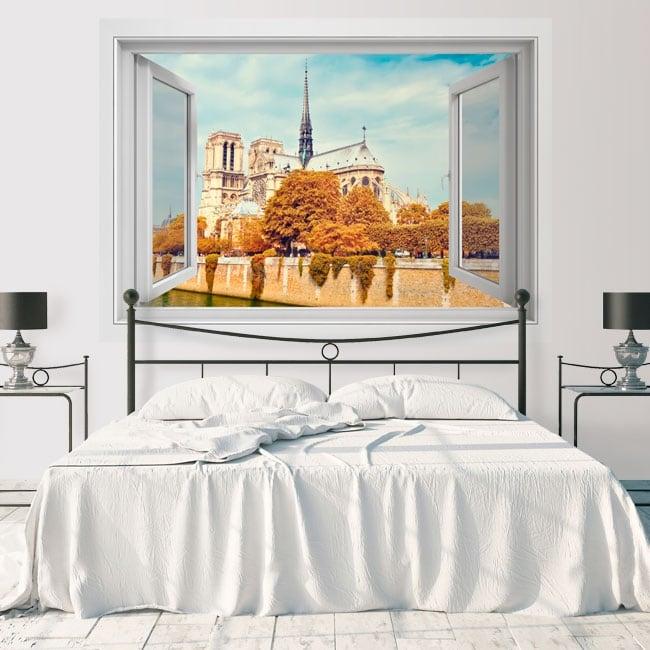 Decorative vinyl cathedral of notre dame paris france 3d
