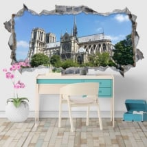 Decorative vinyl cathedral notre dame paris france 3d