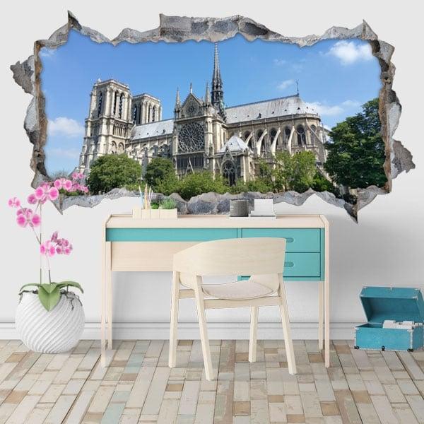 Decorative vinyl cathedral notre dame paris france 3d
