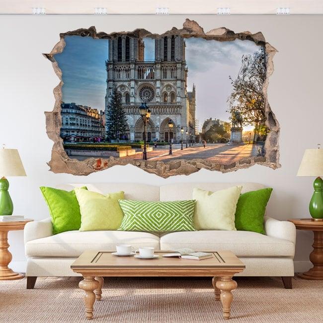 Vinyl stickers 3d cathedral notre dame paris france