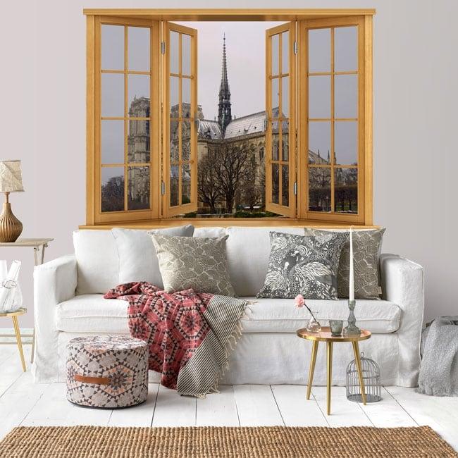 Windows 3d cathedral of notre dame paris france