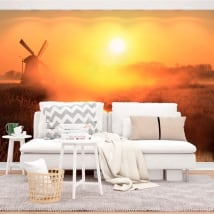 Vinyl wall murals sunset windmill holland