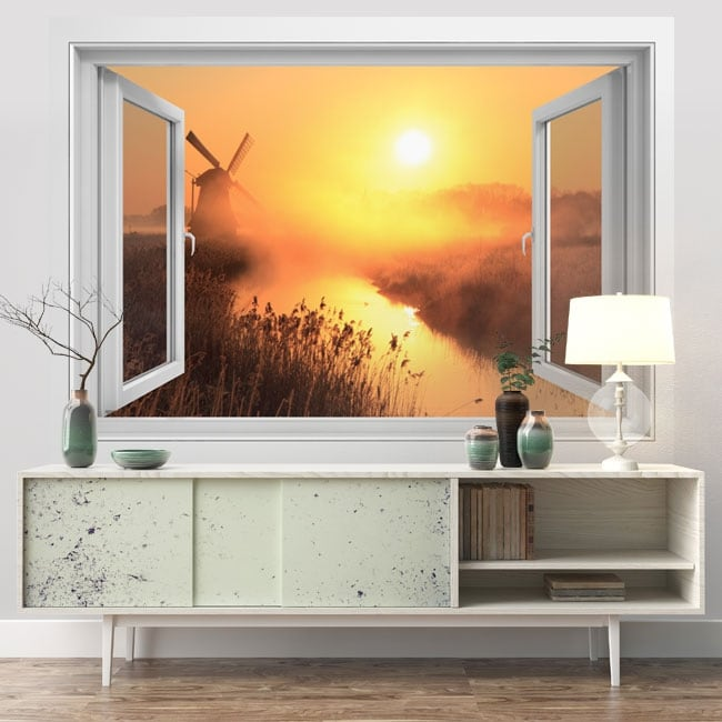 Vinyl walls window 3d sunset windmill holland